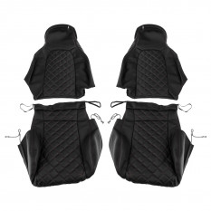 Quilted Seat Covers, black with red stitching, CarbonMiata