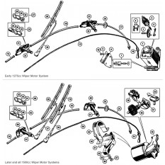 Windscreen Wiper Motor, Arms & Blades - Sprite & Midget 1275-1500cc