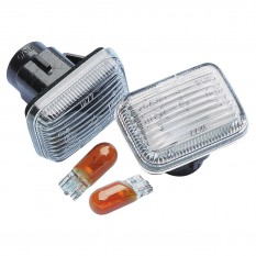 Wing Repeater Set, amber bulbs, clear, pair