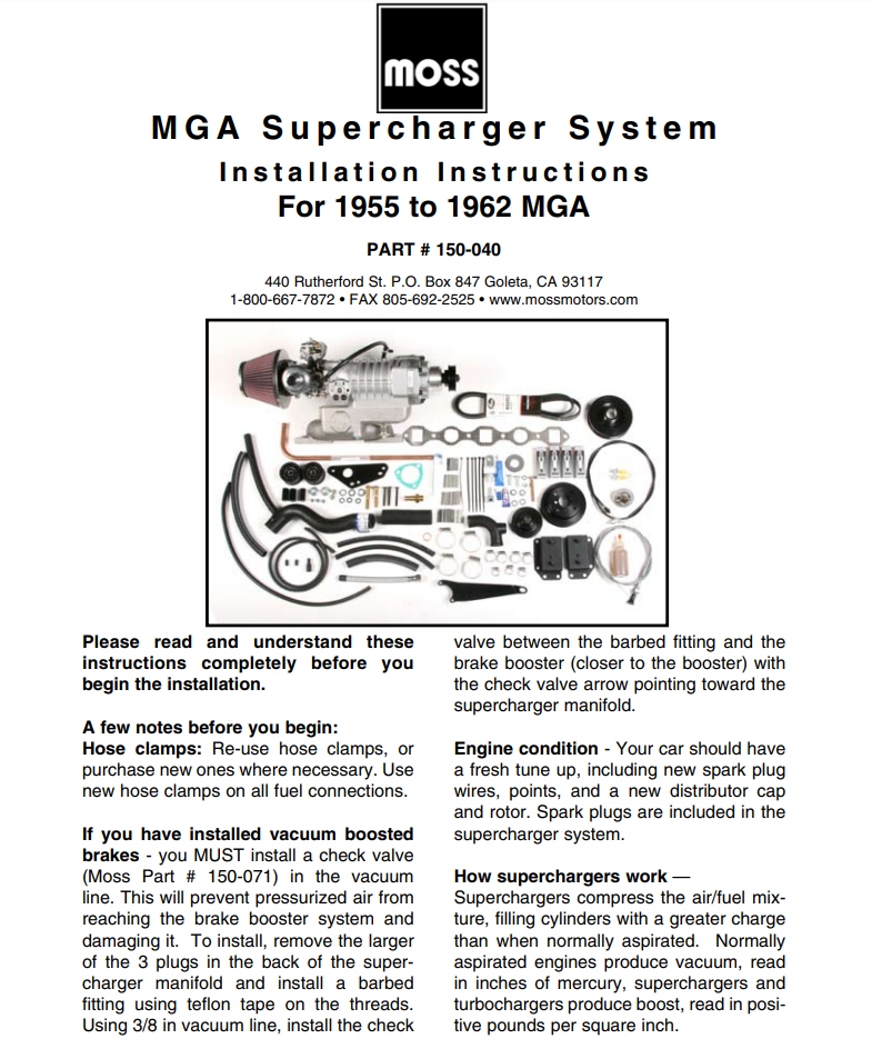 Details about MGA HS6 Carb Supercharger System Kit Eaton MP45 charger 7 5-8  25 PSI boost NEW