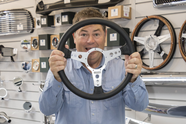 Mike Brewer gets to grip with a steering wheel