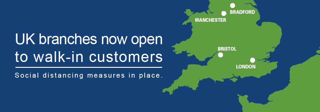 UK branches are now open to walk-in customers