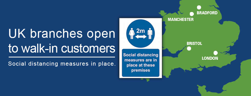 UK branches open to walk-in customers