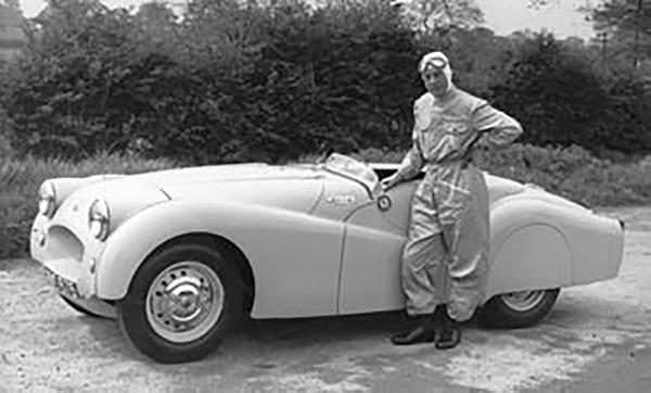 The protoype Jabbeke TR2 MVC 575 & Test driver Ken Richardson